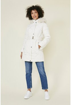 Cream Long Luxe Padded Coat