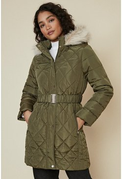 Khaki Long Luxe Padded Coat