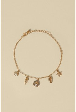 Gold Shell Charm Anklet
