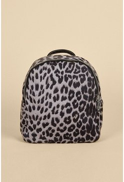 Grey Animal Print Backpack