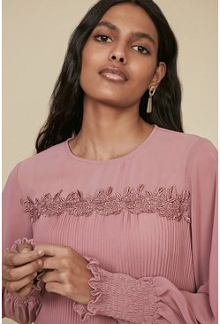 Pink Pleated Trim Detail Blouse