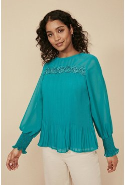 Teal Pleated Trim Detail Blouse
