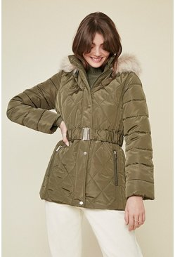 Khaki Short Luxe Padded Coat
