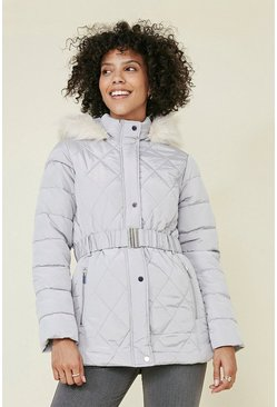 Light grey Short Luxe Padded Coat