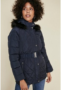 Navy Short Luxe Padded Coat