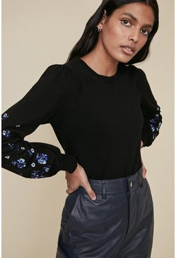 Black Embroidered Sleeve Jumper