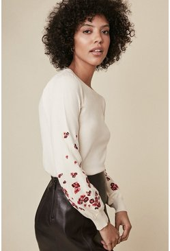 Ivory Embroidered Sleeve Jumper