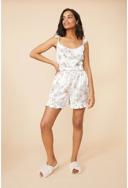 Frilled Floral Printed Satin Shorts