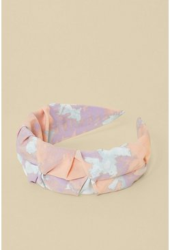 Pink Tie Dye Print Ruched Headband
