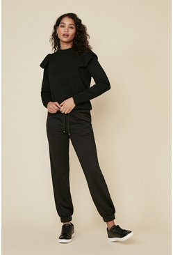 Black Frill Loungewear Sweat And Jogger Set