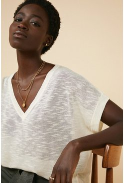 Ivory V Neck Slub Knit T Shirt