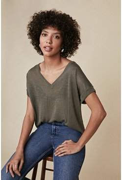 Khaki V Neck Slub Knit T Shirt