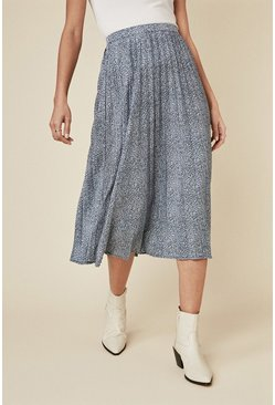 Blue Animal Pleated Skirt