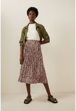 Brown Animal Pleated Skirt