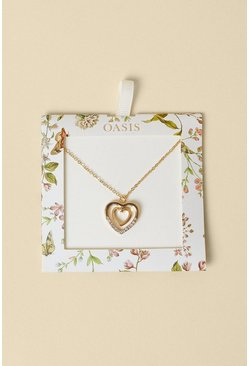 Gold Double Heart Short Necklace