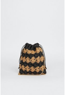 Black Bucket Two Tone Cross Body Bucket Bag