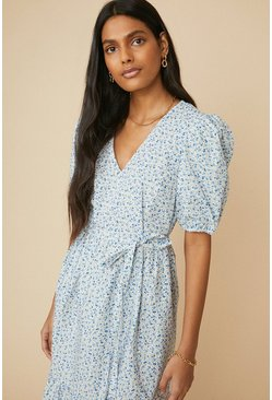 White Printed V Neck Puff Sleeve Midi Dress