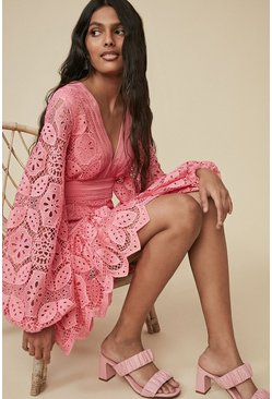 Pink Lace V Neck Skater Dress