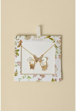 Gold Butterfly Necklace And Earring Gift Set