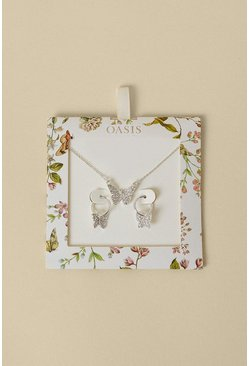 Silver Butterfly Necklace And Earring Gift Set
