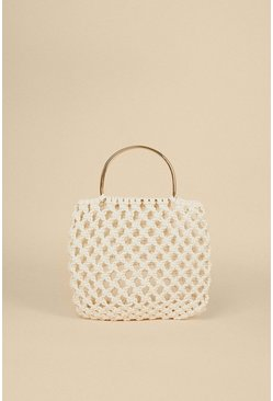 White Metal Top Handle Woven Grab Bag