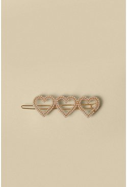 Gold Pearly Heart Hair Slide