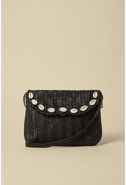 Black Shell Trim Straw Mini Cross Body Bag