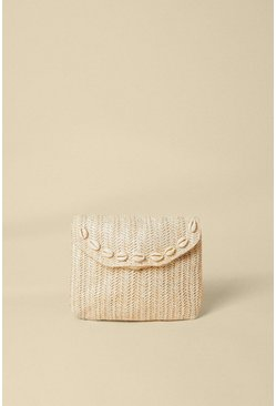 Cream Shell Trim Straw Mini Cross Body Bag