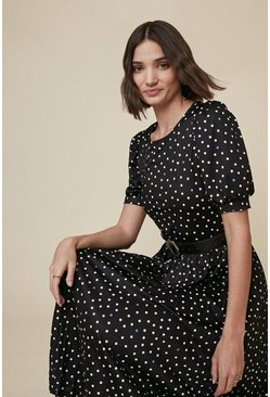 Black Spot Pleated Midi Dress