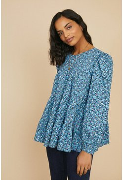 Dark blue Printed Tiered Long Sleeve Top