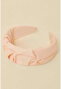Pale pink Ruched Satin Headband