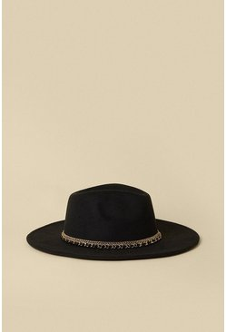Black Double Chain Fedora
