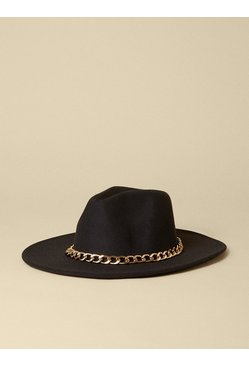 Black Chunky Chain Fedora Hat