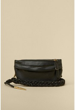 Black Rope Strap Zip Small Bag
