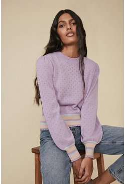 Multi Stripe Trim Pointelle Jumper