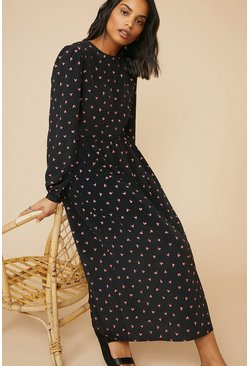 Black Heart Printed Midi Dress