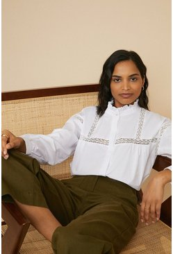 White Yoke Trim High Neck Blouse