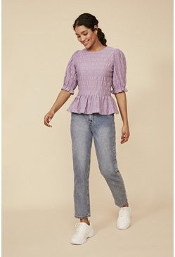 Purple Textured Puff Sleeve Top