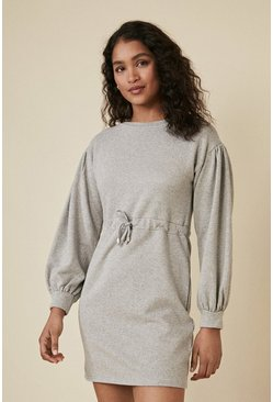 Grey marl Tie Waist Sweat Dress