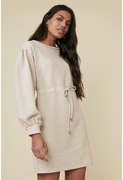 Oatmeal Tie Waist Sweat Dress