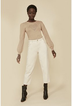 Beige Cutwork Heart Jumper