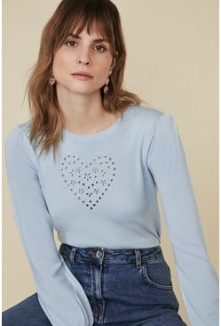Blue Cutwork Heart Jumper