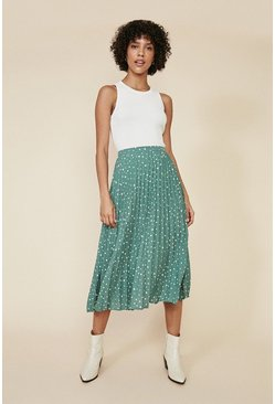 Green Spot Pleated Midi Skirt