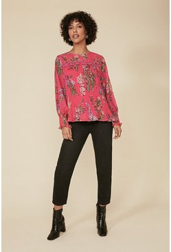 Hot pink Printed Pleated Trim Detail Blouse