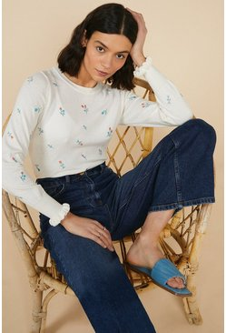 Ivory Ditsy Floral Embroidered Crew Jumper