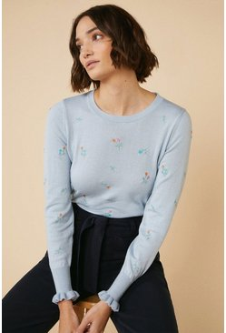 Pale blue Ditsy Floral Embroidered Crew Jumper
