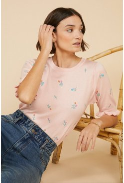 Pale pink Ditsy Floral Embroidered Tee