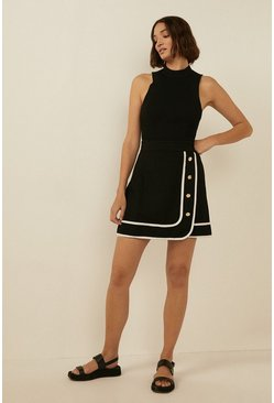 Black Contrast Button Front Mini Skirt