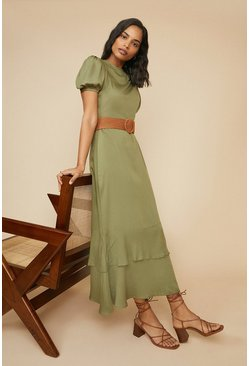 Green Plain Puff Sleeve Maxi Dress