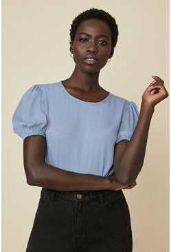 Blue Plain Puff Sleeve Top